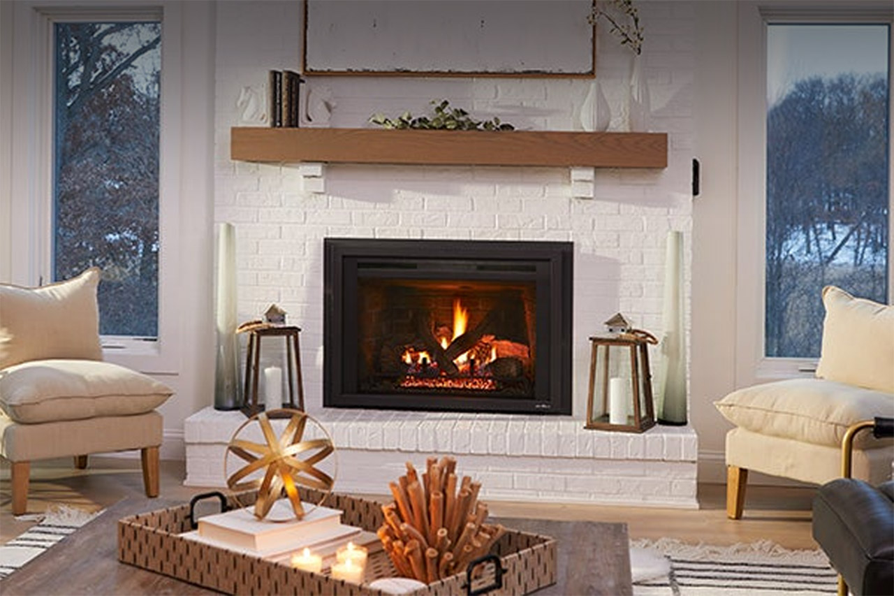 Fireplace in living space after