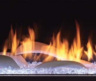 PRIMO See-Through Gas Fireplace Dunes White Logs
