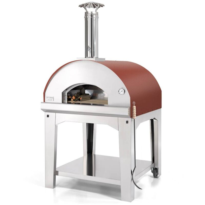 Fontana Forni Marinara Wood Fired Pizza Oven with Cart Red