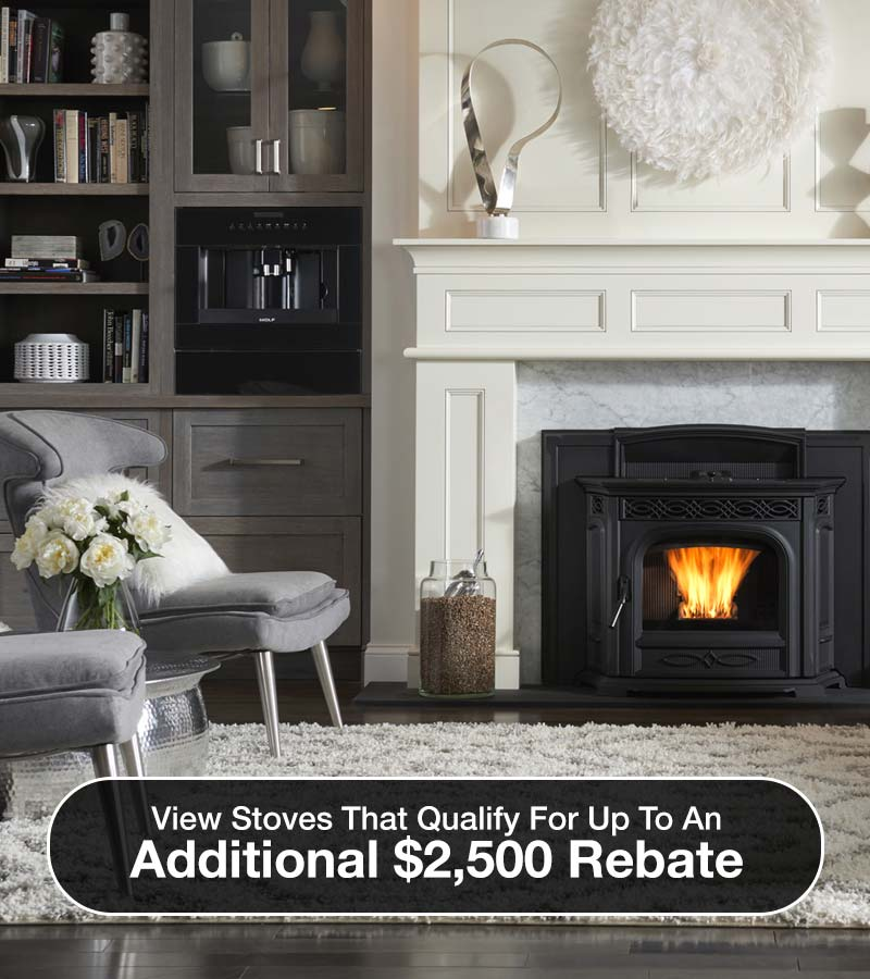 Fireplace; View stoves that qualify for up to an additional $2,500 rebate